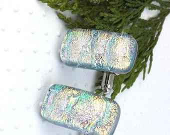 Glass Cufflinks - Mens Jewellery - Dichroic Glass Cufflinks -Silver With a Hint of Blue Glass Cufflinks -Fused Glass Cufflinks- Mens Gift.