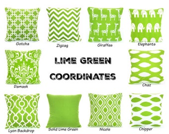 Green Pillow Covers, Cushions, Decorative Throw Pillows, Pillow Covers, Lime Green White Chevron Nursery One or More Mix & Match All Sizes