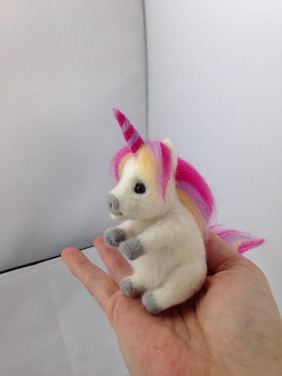Needle Felted Unicorn, wool, felt unicorn, Fantasy, felted animal, Horse,soft sculpture, unicorn Animal, cute handmade white unicorn rainbow