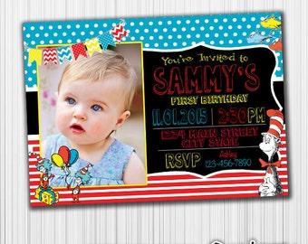 Dr. Suess Birthday Invitation,Printable,  Custom Digital Invite, any age