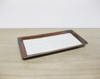 Vintage Brown Speckled Ceramic Dish