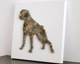 Modern Rustic Dog Decor, 3D Wood Animal Silhouette, Boxer Dog Art