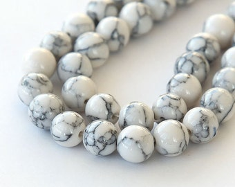 8mm White Beads Polished Marbeled Synthetic Howlite White and Grey Stone Beads 16 inch Strand 50 Beads 8mm White Beads