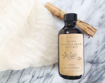 Vanilla Bean Extract Rubber Stamp - Homemade - Handmade - Holiday Gifts - DIY - Custom Stamp - Hand Illustrated Vanilla Bean - Labels