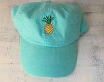 Pineapple baseball hat, Pigment dyed hat, Beach hat
