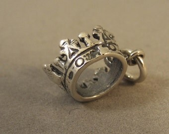 Sterling Silver 3-D Tiny PRINCESS CROWN Charm Pendant .925 Sterling Silver Queen King Royalty Tiara New du44