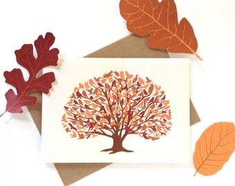 Oak Woodland Birds Fall Autumn Card
