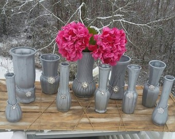 10 Shabby chic soft silver painted upcycled vases, Wedding center pieces, event center pieces