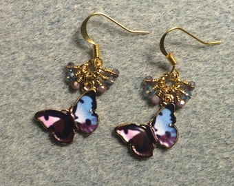 Purple and light blue enamel butterfly charm dangle earrings adorned with tiny dangling purple and light blue Chinese crystal beads.