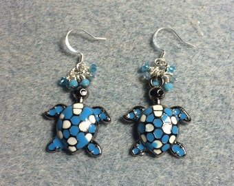 Blue and white enamel turtle charm earrings adorned with tiny blue Chinese crystal beads.