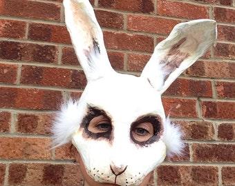 White Rabbit Mask/ Paper mache animal mask