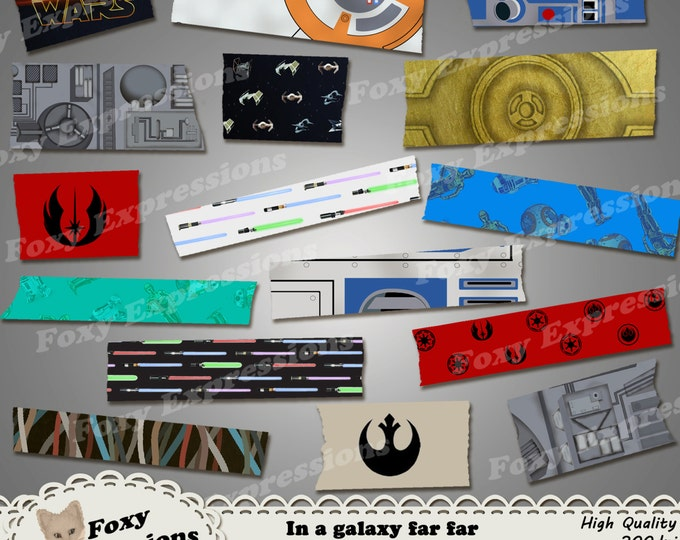 In a galaxy far far away washi tape pack includes r2d2, c3po, bb8, death star, lightsabers, tie fighters, x wings, rebel alliance, etc.