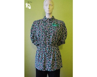 Vintage 70s Disco blouse Black with white polka dots and green elements cool vintage clothes Disco era dance costume 80's fashion 70's 48