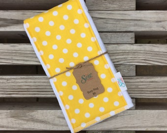 Yellow and White Polka Dot CLOTH DIAPER Burp RAG