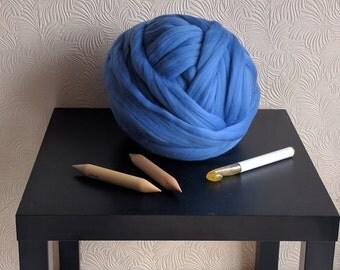 250g pure 100% merino wool sky blue giant knitting yarn/ arm knitting yarn/jumbo yarn