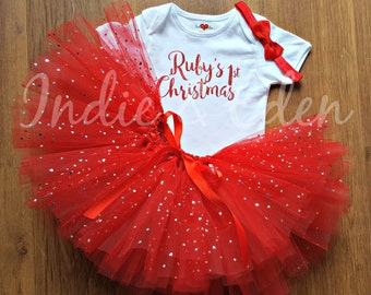 First Christmas Tutu personalised baby 1st tutu fancy dress costume babysuit birthday glitter red set photo prop cake smash