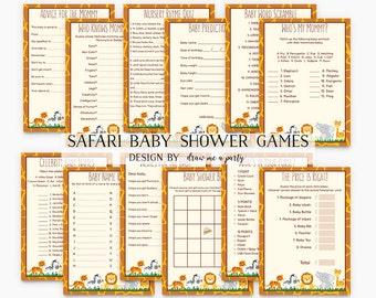 SAFARI Baby Shower GAMES PACK , Safari Bingo , Safari Baby Wishes , Safari Advice , Baby Shower Game Pack , Printable , Instant Download