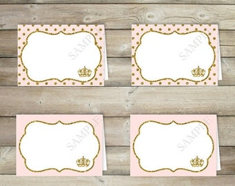 BIG SALE Pink and Gold Tent Cards , Table Tent , Place Card , Buffet Labels , Princess Baby Shower Decorations , Party Printables