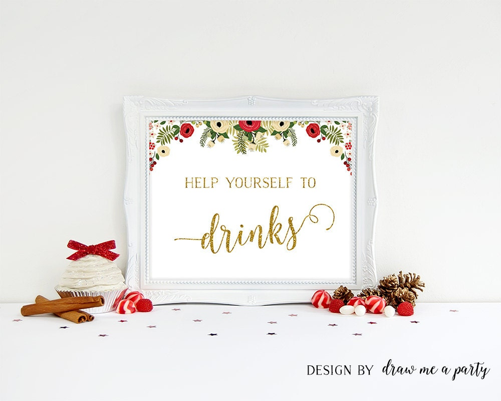 Christmas party drink sign christmas party decorations for Christmas cocktail decorations