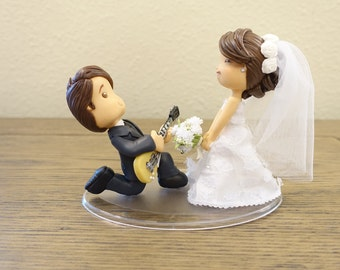 Cute Couple Wedding Cake Topper, Wedding Cake Topper, Cute Cake Topper, Custom Cake Topper, Musical Cake Topper