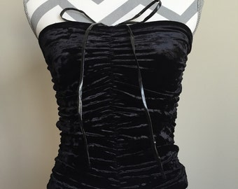 Vintage Black Crushed Velvet Ruched Tube Top Size Extra Small