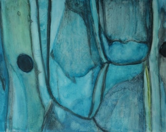 Blue Onion, Study No. 1 - Original artwork, abstract, archivally matted