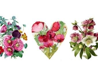 Temporary Tattoo -  Set of 3 Vintage Floral / 4 patterns of Vintage Florals
