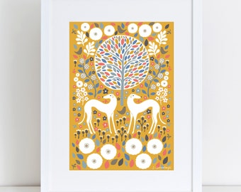 Mustard Greyhounds | A3 Print | Giclee Art Print | Illustration | Dog Print | Dog Lover Gift