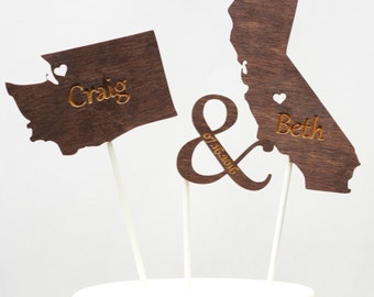 State Cake Toppers for Weddings, Wedding Cake Toppers, Personalized Wedding Cake Topper, Engagement Party Cake Toppers, Rustic Cake Toppers