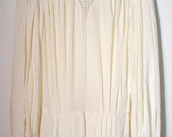 Vintage 70s Wedding Dress Retro Beads Embroidered Back Buttons Sequined Designer Pret A Porter UK 12 M Sequins