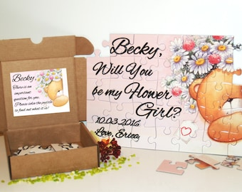 Personalized Flower Girl puzzle-Flower girl gift-Flower girl puzzle-Will you be my Flower girl-Wedding favor-Wedding gift-Jigsaw puzzle