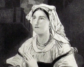 1840 Dieterich - Praying Roman Woman  - Original, Antique, Vintage, Stone Lithography. Rome. Religion. Over 170 years old.