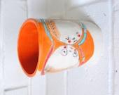 "Contemporary Home- Ceramic Art Vase - Original Illustration by Christina Romeo ""Hold Tight"""