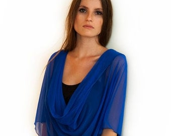 Plus Size Royal Blue Shrug Shawl. Blue Versatile Shawl With 4 Wearing Options. Elegant Clothing, Party Shawl, Cover Up For Curvy Women CF116