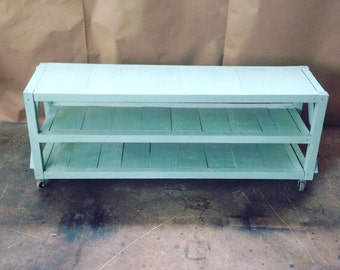 Rustic wood tv stand or shoe rack