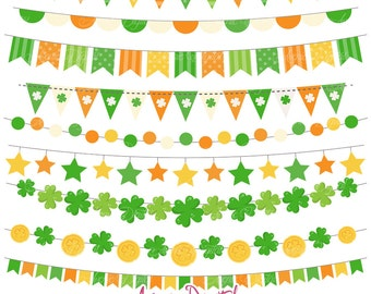 St. Patrick's Day Bunting Banner Clipart Scrapbook printable, Green Vector banners .eps. Irish Clip art, St Paddy's Day flag banner