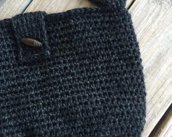 Black hobo bag, fully lined handbag, crochet handbag, hobo bag, black hobo handbag, boho slouch handbag, crochet boho bag, Color options