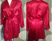 53---Hot red robe-Plus size 1X/2X-Sexy-Sensual-Erotic-Gift-Feminine-Nightwear-Womens sleepwear-Vacation-Private encounter-