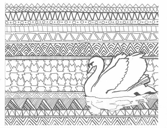 Aztec Coloring Pages Pdf : Aztec adult coloring page of a swan digital by essenceofink