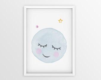 Moon Print, Moon Art, Moon Poster, Watercolor poster, Moon , Moon Watercolor Art Print, Moon Nursery Decor, Baby Nursery,
