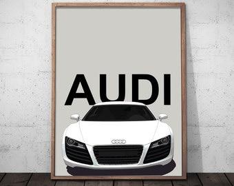 Audi 'R8' Printable Artwork, Digital Prints, Modern Wall Art, Modern Decor, Digital Download, Instant Download Art