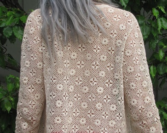1940s Vintage Cardigan White Floral Lace Button Up See Through