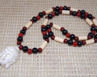Buddha Necklace, Buddha Pendant,Wood 8mm beads,Stretch Necklace,Men,Women,Pray,Spirituality,Prayer,Yoga,Protection,Meditation
