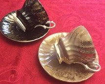 TWO Sets of Queen Anne Bone China Tea Cups and Saucers - Black and Beige with Lots of Gold accents