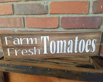Tomatoes Sign. Kitchen signs, tomatoes wood sign, garden sign, rustic farm sign, fresh tomatoes sign, tomato decor, farmhouse decor, fruit
