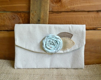 Clutch Purse Rustic Burlap Bag Aqua Flower Handmade Gift Makeup Bag