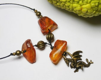 dragon pendant necklace and amber