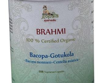 Organic Brahmi Herb Capsules - 108 Vcaps (USDA Certified Organic) - Gopala Ayurveda