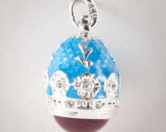 Faberge style Pendant Amber blue Austrian crystals - kod80p