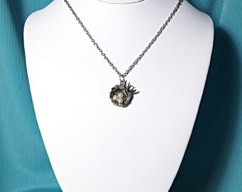 Silver Bird Nest With Eggs Charm Necklace
